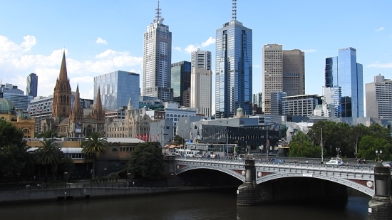Possibly the most scenic view of Melbourne from Southbank south of the Yarra River