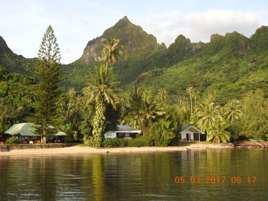 Moorea French Polynesia -- Our beach front chalet viewed from pontoon